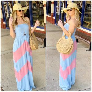 BLUE AND PINK CHEVRON STRAPLESS MAXI DRESS